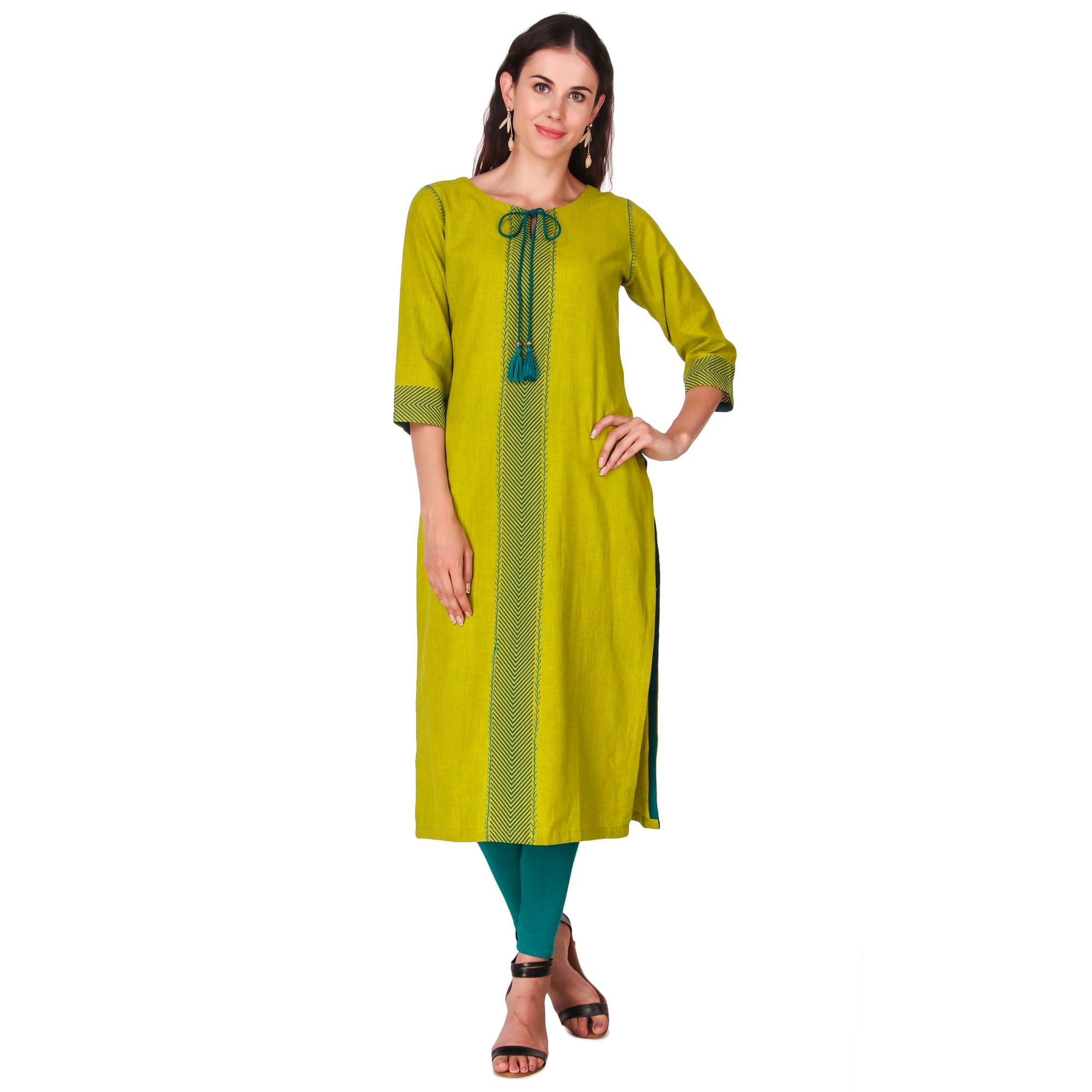 Lovely Green Color Casual Wear Hand Embroidered Work Knee Length Handloom Cotton Kurti