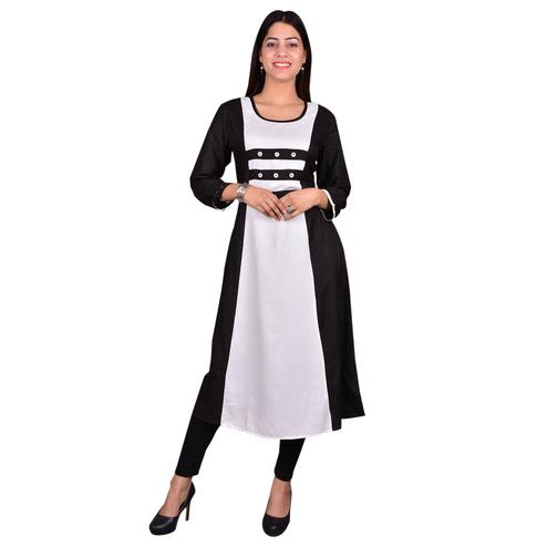 Adorable Black-White Colored Casual Wear Solid Viscose-Rayon Long Kurti