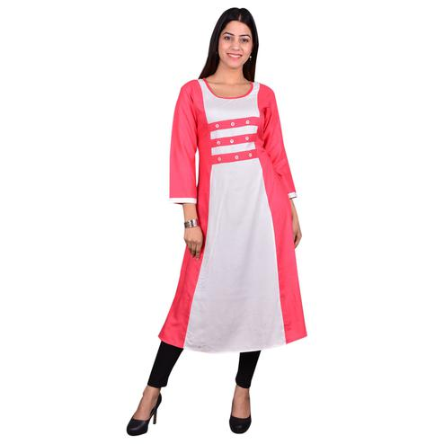 Glorious Pink-White Colored Casual Wear Solid Viscose-Rayon Long Kurti