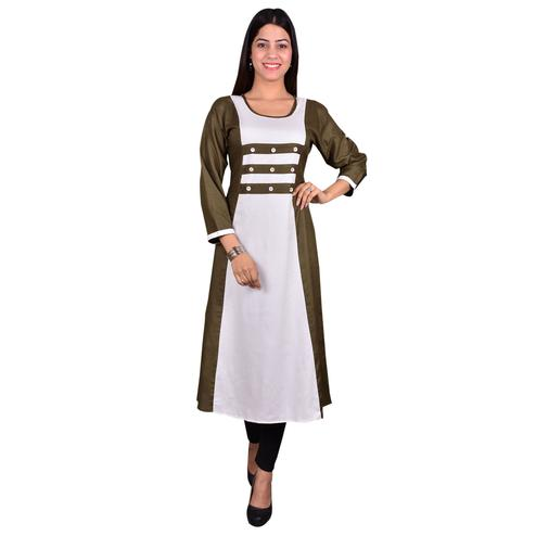 Attractive Brown-White Colored Casual Wear Solid Viscose-Rayon Long Kurti
