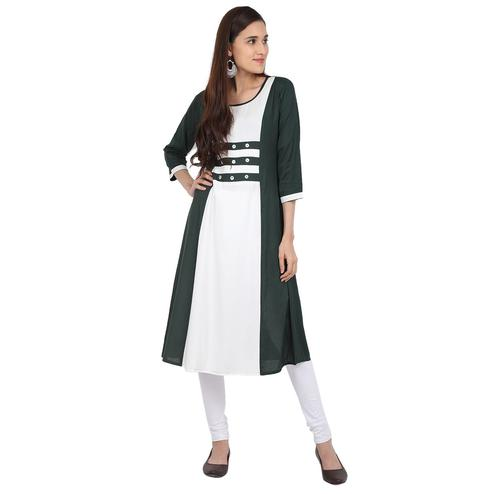 Beautiful Green-White Colored Casual Wear Solid Viscose-Rayon Long Kurti