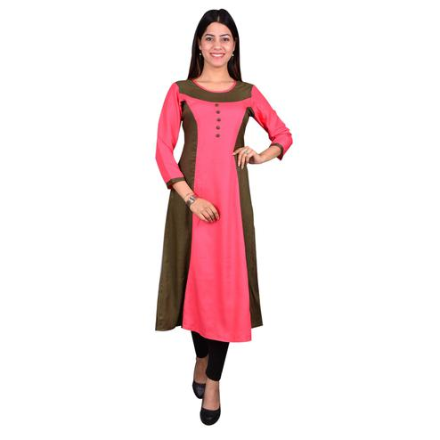 Graceful Pink Colored Casual Wear Solid Viscose-Rayon Long Kurti