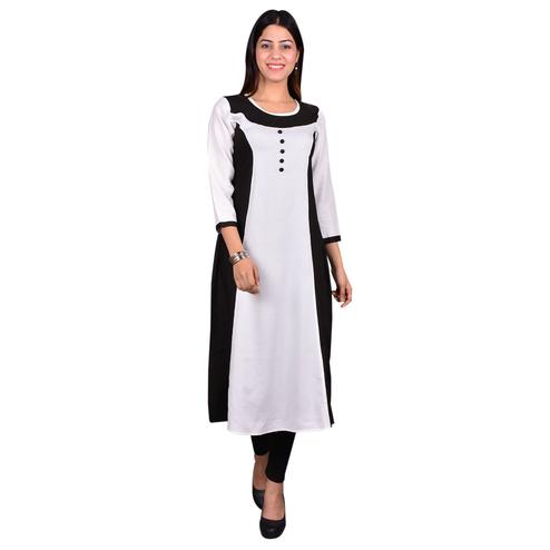Blooming White Colored Casual Wear Solid Viscose-Rayon Long Kurti