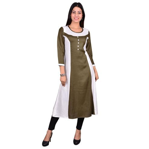 Charming Brown Colored Casual Wear Solid Viscose-Rayon Long Kurti