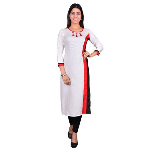 Jazzy White Colored Casual Wear Solid Viscose-Rayon Long Kurti