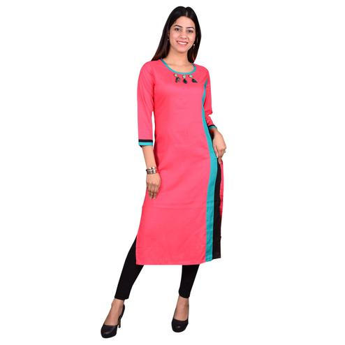 Captivating Pink Colored Casual Wear Solid Viscose-Rayon Long Kurti
