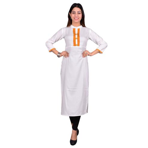 Innovative White Colored Casual Wear Solid Viscose-Rayon Long Kurti
