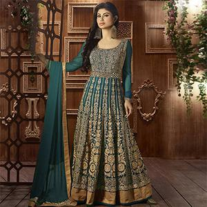 Green Georgette Heavy Embroidered Anarkali Suit