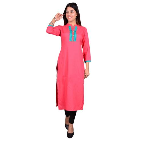 Fantastic Pink Colored Casual Wear Solid Viscose-Rayon Long Kurti