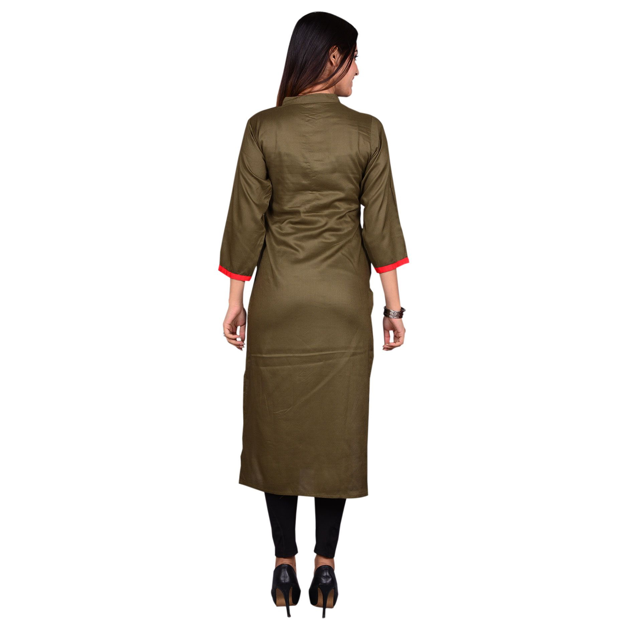 Amazing Brown Colored Casual Wear Solid Viscose-Rayon Long Kurti
