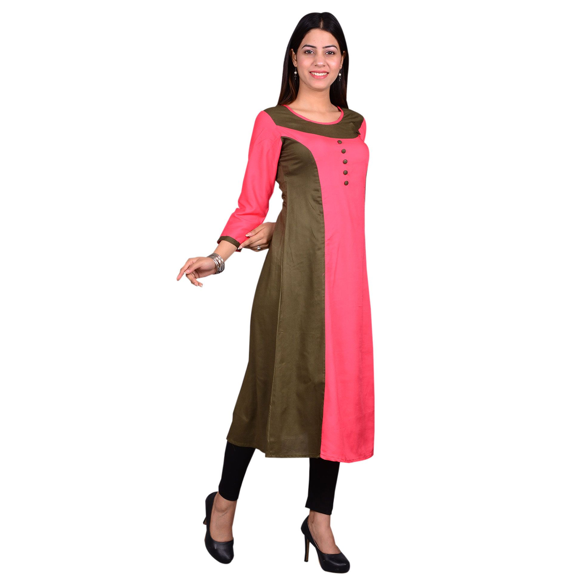 Gorgeous Pink Colored Casual Wear Solid Viscose-Rayon Long Kurti