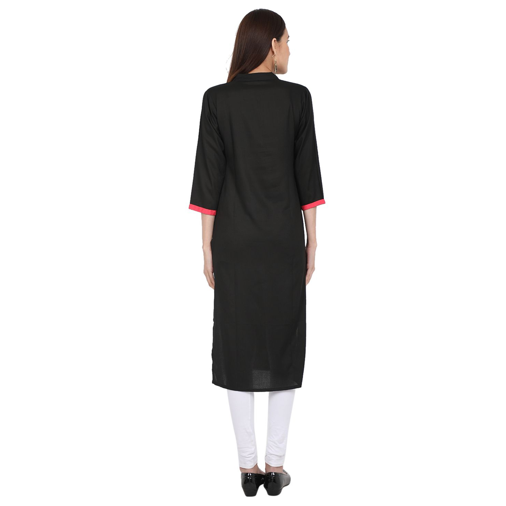 Ideal Black Colored Casual Wear Solid Viscose-Rayon Long Kurti