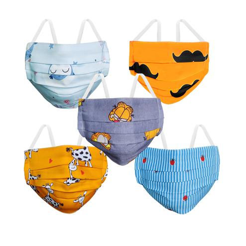 AHALYAA Reusable Washable Cotton Face Cover For Kids - Pack of 5