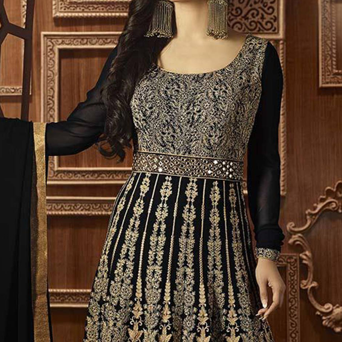 Black Embroidery & Stone Work Anarkali Suit