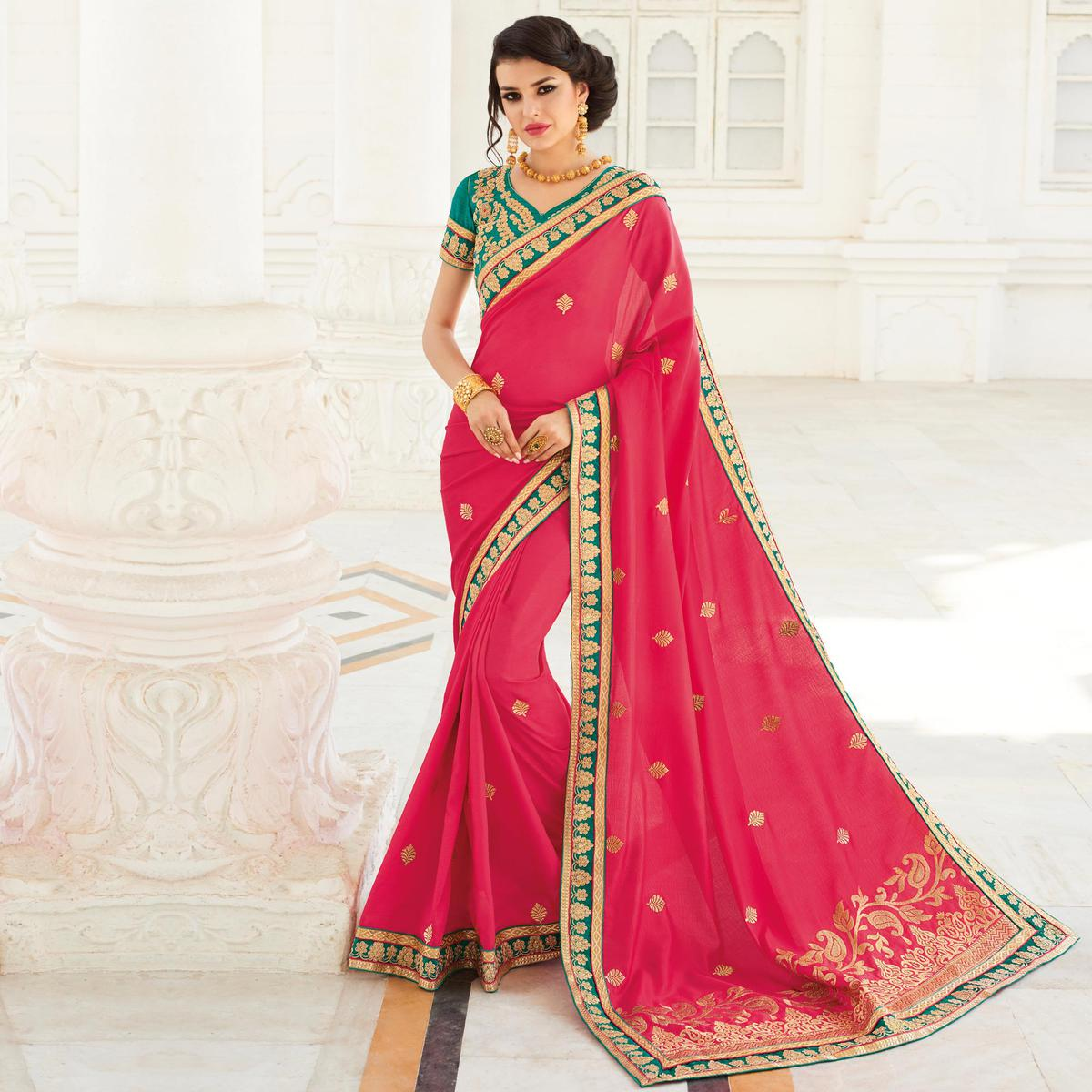 Coral Red Embroidered Work Silk Saree