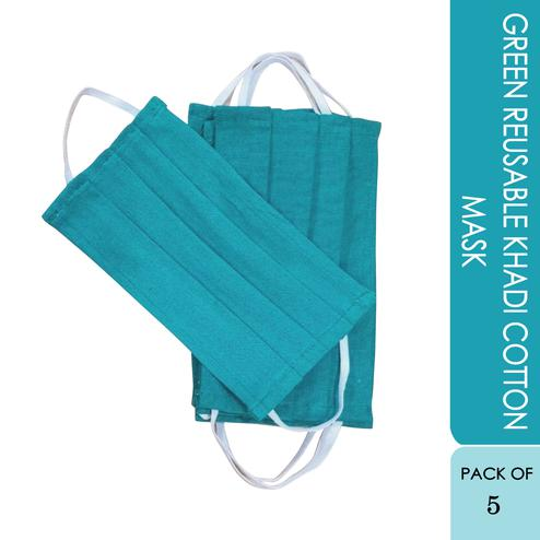 Green Reusable Khadi Cotton Face Cover - Pack Of 5