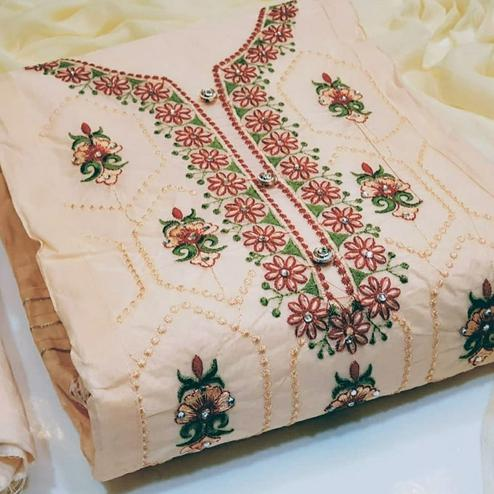 Demanding Pastel Peach Colored Party Wear Embroidered Cotton Dress Material