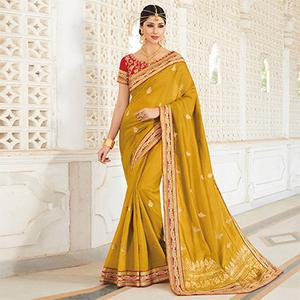 Mustard Color Embroidered Work Saree in Silk