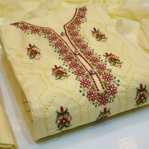 Refreshing Pastel Yellow Colored Party Wear Embroidered Cotton Dress Material