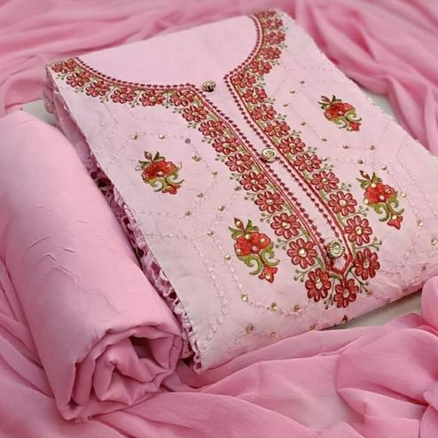 Hypnotic Pastel Pink Colored Party Wear Embroidered Cotton Dress Material