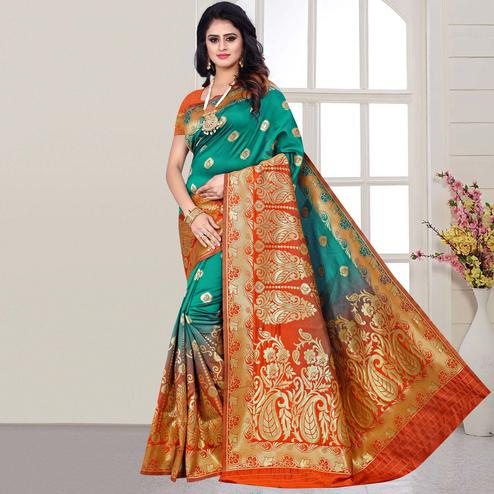 Attractive Turquoise Green Colored Festive Wear Woven Silk Saree