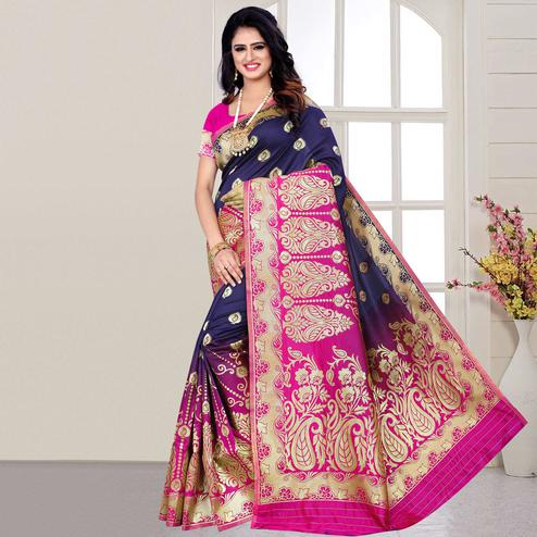 Beautiful Navy Blue Colored Festive Wear Woven Silk Saree