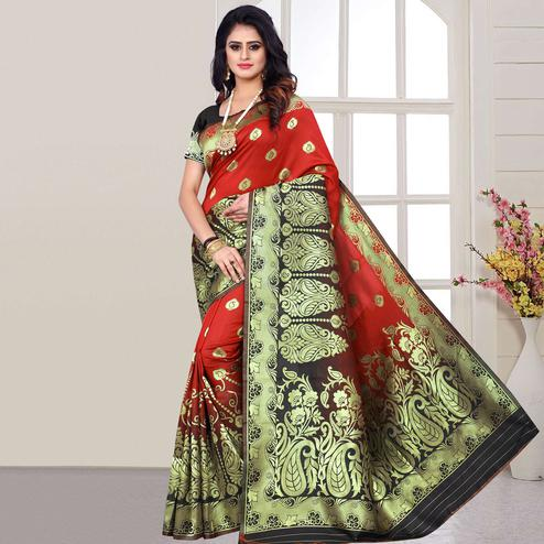 Graceful Red Colored Festive Wear Woven Silk Saree