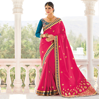 Fuchsia Silk Saree with Embroidered Work Blouse