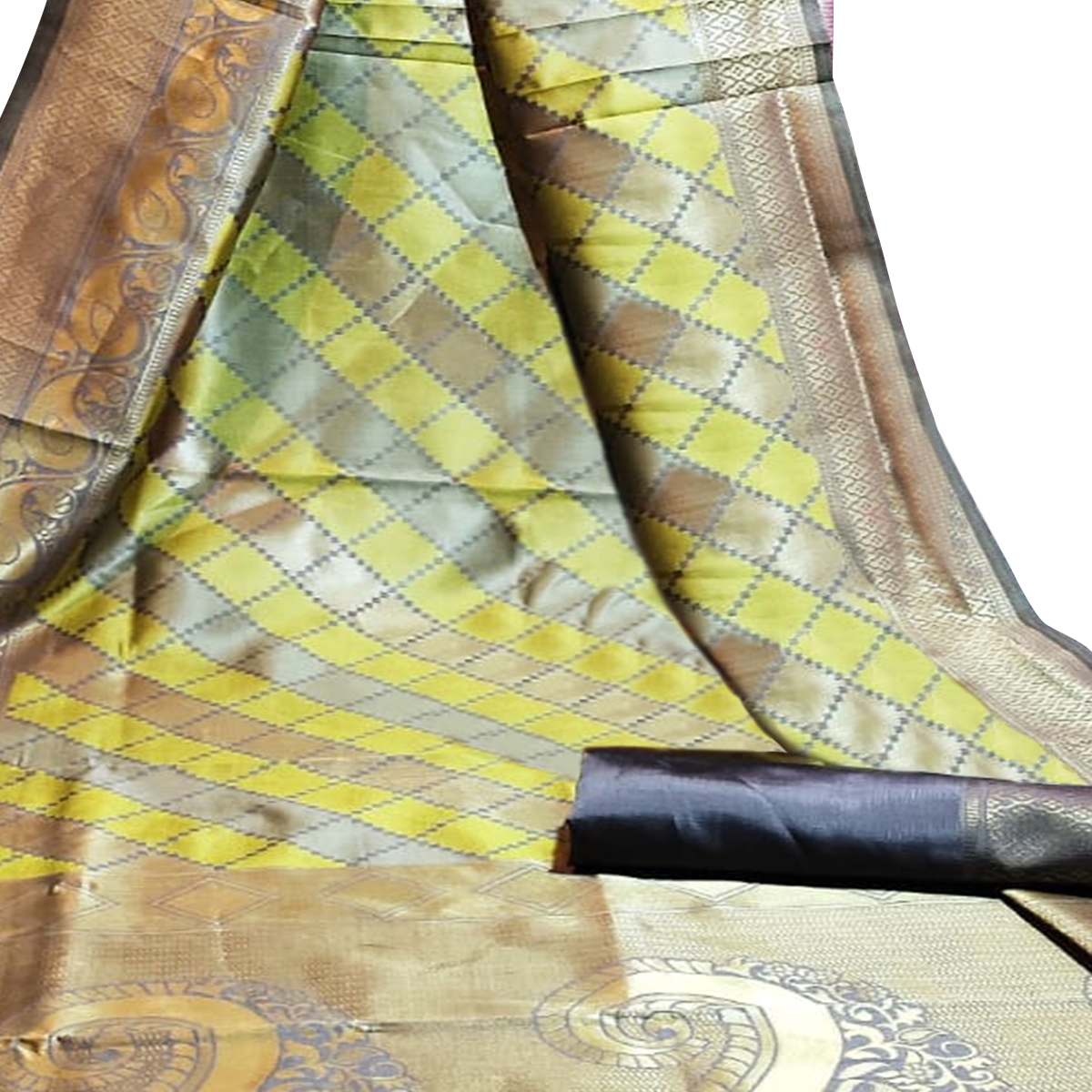 Sophisticated Grey-Green Colored Festive Wear Woven Silk Saree