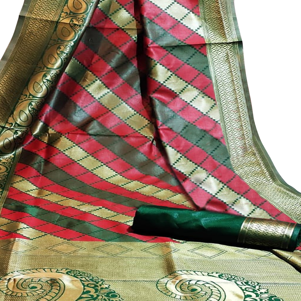 Trendy Green-Red Colored Festive Wear Woven Silk Saree