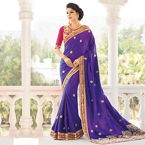 Purple Embroidered Work Silk Saree