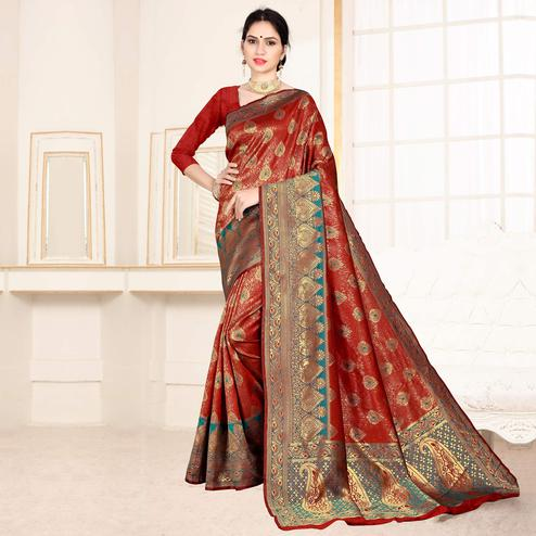 Graceful Red Colored Festive Wear Woven Art Silk Saree