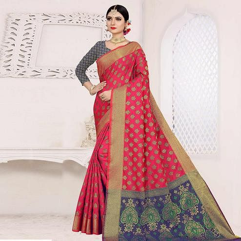 Amazing Pink Colored Festive Wear Woven Cotton Saree With Jacquard Border