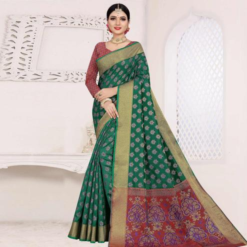 Gorgeous Green Colored Festive Wear Woven Cotton Saree With Jacquard Border
