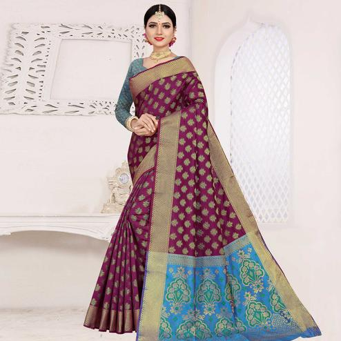 Blissful Purple Colored Festive Wear Woven Cotton Saree With Jacquard Border
