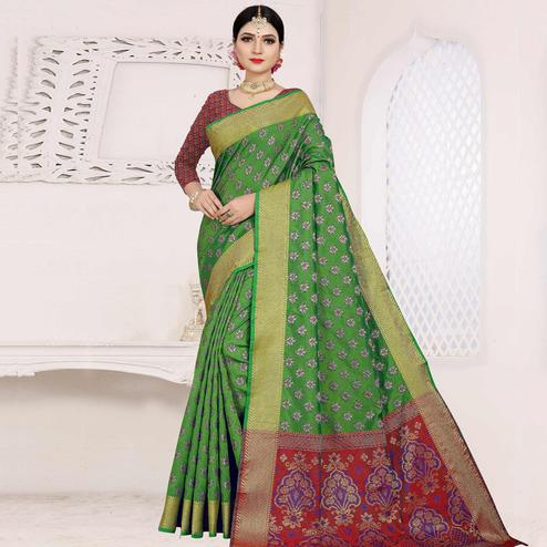 Ideal Green Colored Festive Wear Woven Cotton Saree With Jacquard Border