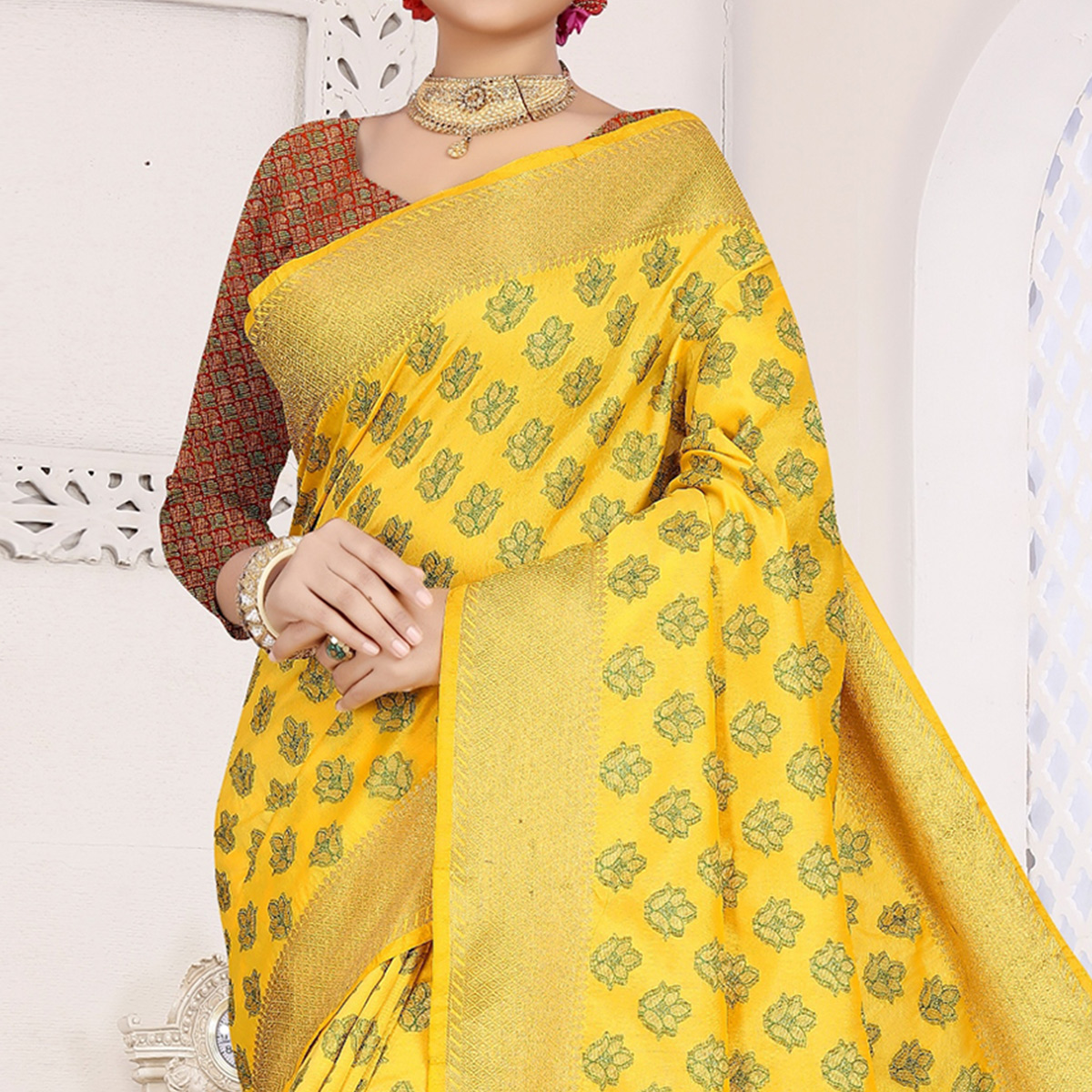 Imposing Yellow Colored Festive Wear Woven Cotton Saree With Jacquard Border