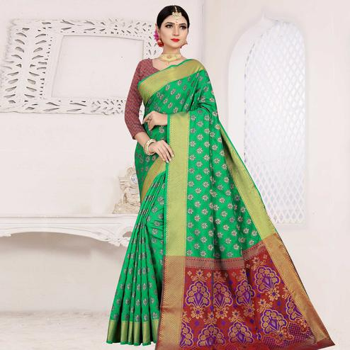 Lovely Turquoise Green Colored Festive Wear Woven Cotton Saree With Jacquard Border