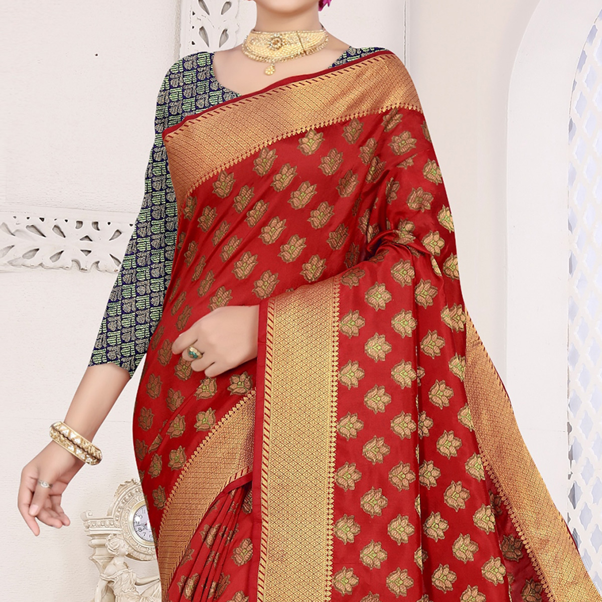 Majesty Maroon Colored Festive Wear Woven Cotton Saree With Jacquard Border