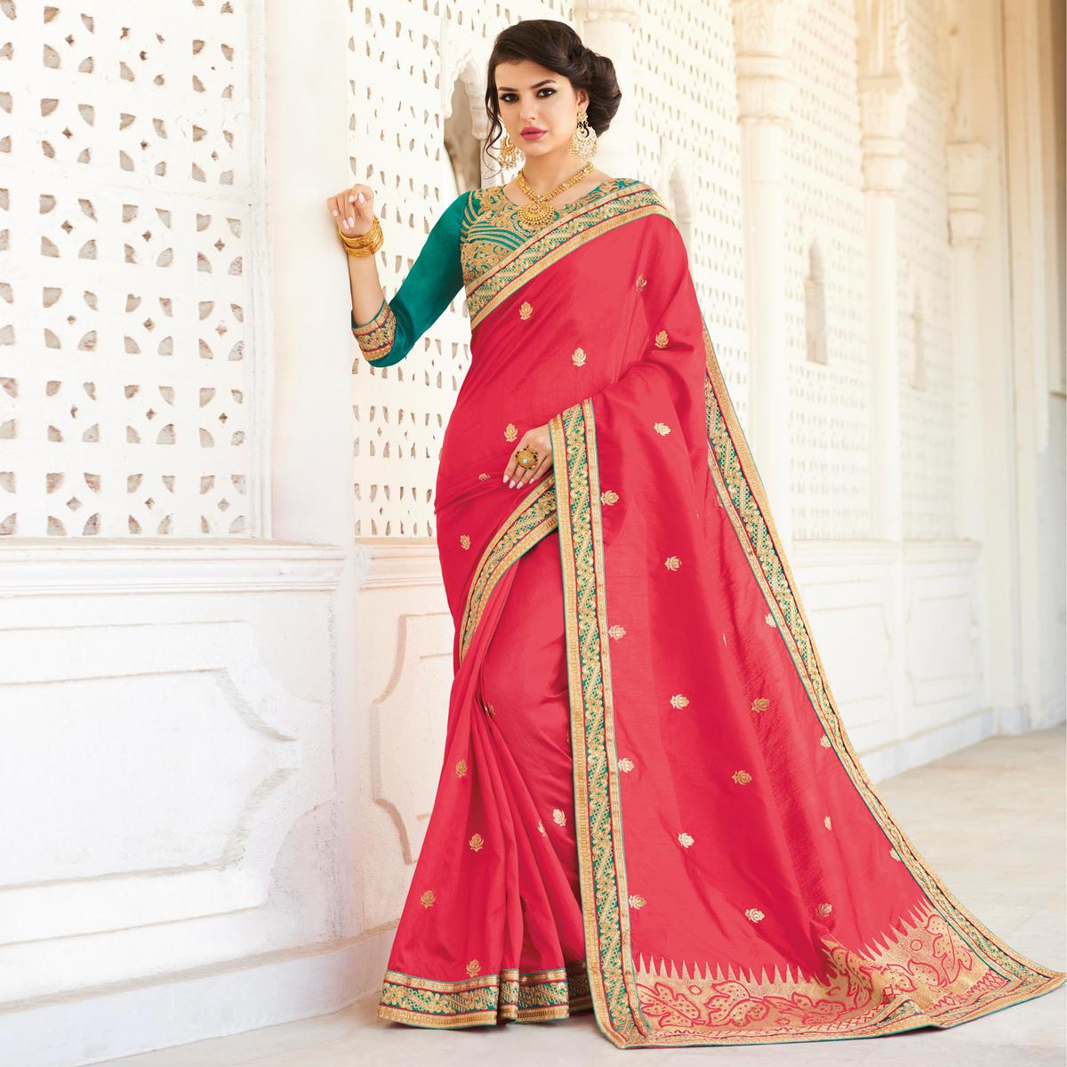 Red Silk Saree with Embroidered Work Blouse