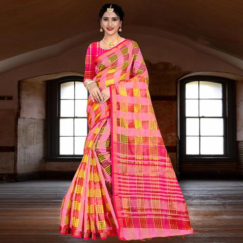 Pleasance Pink Colored Festive Wear Woven Linen Saree