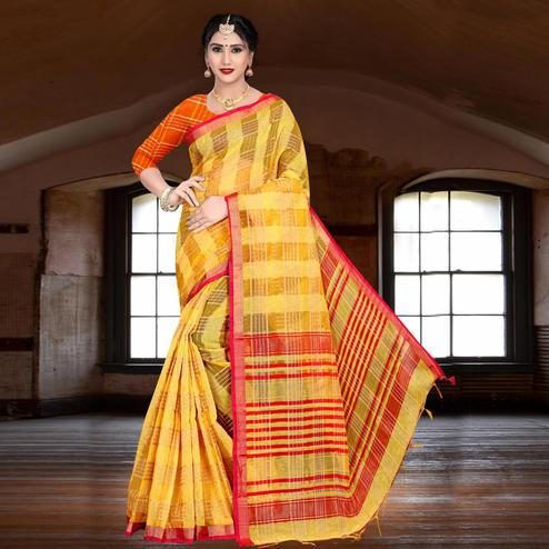 Ethnic Yellow Colored Festive Wear Woven Linen Saree
