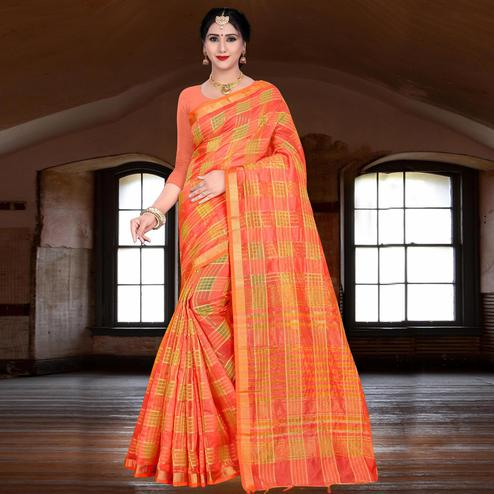 Staring Dark Peach Colored Festive Wear Woven Linen Saree