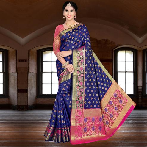 Marvellous Blue Colored Festive Wear Woven Silk Saree
