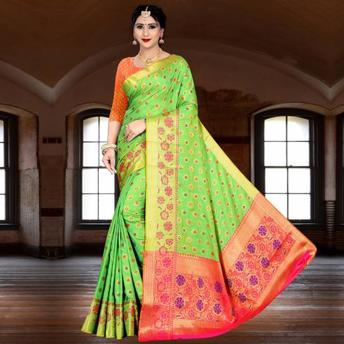 Pretty Pista Green Colored Festive Wear Woven Silk Saree
