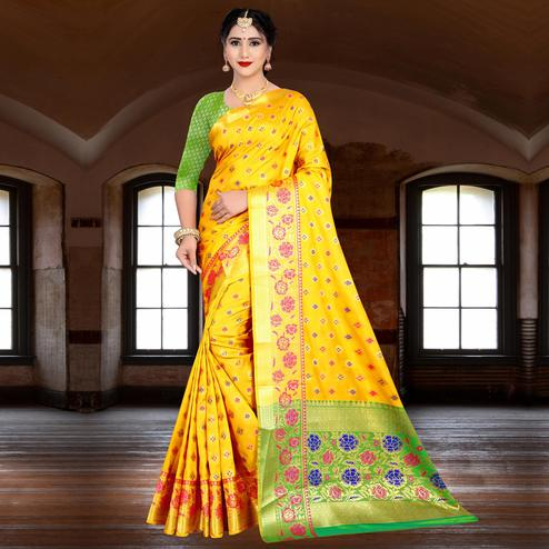Alluring Yellow Colored Festive Wear Woven Silk Saree
