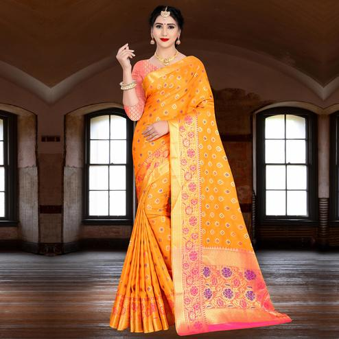 Sensational Orange Colored Festive Wear Woven Silk Saree