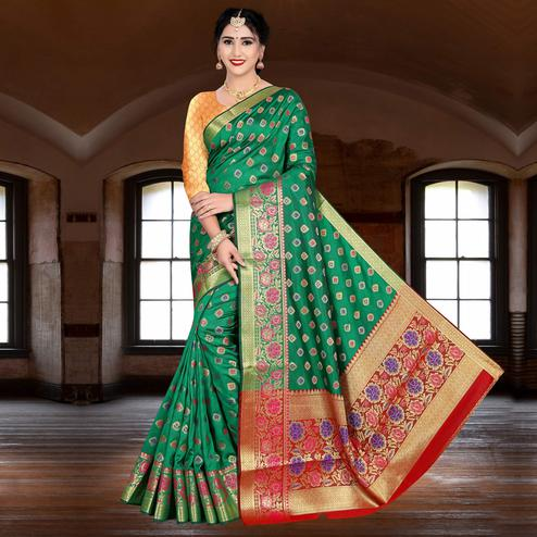 Flaunt Green Colored Festive Wear Woven Silk Saree