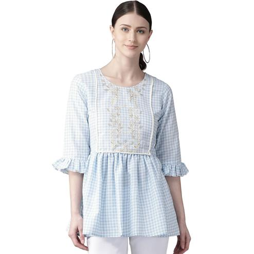 Magnetic Blue Colored Casual Wear Checked Digital Printed Cotton Frock Top