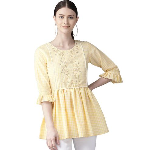 Hypnotic Yellow Colored Casual Wear Checked Digital Printed Cotton Frock Top